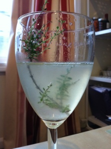 A French 75 elegantly garnished with lemon thyme.