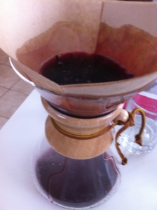 Using a coffee filter, strain the wine.