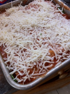To the top layer of noodles, add sauce, mozzarella, and if you dare, some grated parmesan!