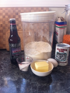 3 1/2 cups self rising flour, 12oz beer (any kind), 3 TBL sugar, 1 beaten egg, and 3 TBL melted butter.